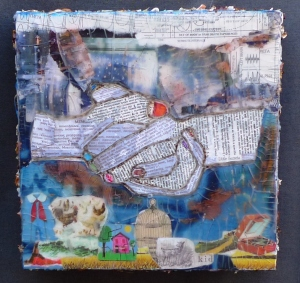 Mixed-media: collage and encaustic